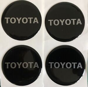 TOYOTA ALLOY WHEEL CENTRE CAP DOMED STICKER X4 YARIS AYGO RAV4 BLACK SILVER 55mm