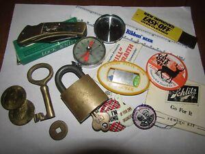 vintage junk drawer lot compass,pocket knife advertising badge pin coin lock key