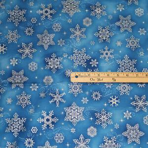 Holiday Flourish Blue Snowflakes Metallic Christmas Fabric 1/2 Yard  #19920-4