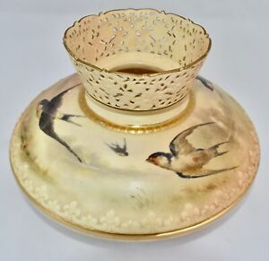 1904 Royal Worcester Hand Painted Vase SWALLOWS Reticulated Neck 703/G14