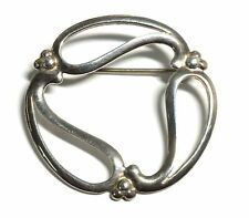 OLA GORIE 925 STERLING SILVER Round Celtic Design Brooch / Pin, 36mm, 5.2g - F04