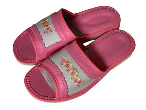 Ladies Slippers Indoor Outdoor Shoes for Women Pink Floral Open Toes Slip Ons