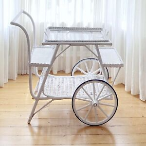 Vintage White Wicker Tiered Rolling Tea Cart Trolley Serving Bar Removable Tray