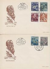 DDR FDC 485 - 490 A auf 2 FDCs mit Tagesstempel Berlin 1955, frist day cover