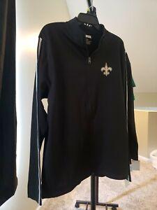 New Orleans Saints NFL Team Apparel Men's Large Black Zip-Up Sweater NWT
