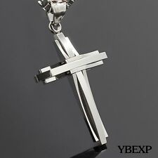 "20"" MEN Stainless Steel Plain Cross Pendant Gold Black Silver Chain Necklace"