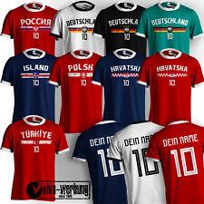 WM TShirt 2018 Fußball mit Name & Zahl Trikot Deutschland Island Hrvatska Polen