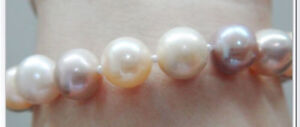 """Huge 7.5"""" 11-13mm natural south sea genuine white gold pink round pearl bracelet"""