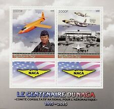 Congo 2015 MNH NACA Nat Advisory Committee Aeronautics 2v M/S Aviation Stamps