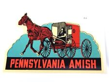 Nos Vintage 1960s Sticker PENNSYLVANIA AMISH Dutch Water Decal Horse & Carraige