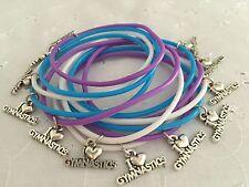 12 I Love Gymnastics Gym Charm Bracelets Gummy Bands Party Bag Gift FREEPOST