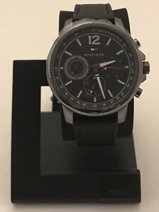 TOMMY HILFIGER STAINLESS BLACK WATCH WITH BLACK LEATHER BAND 1791533