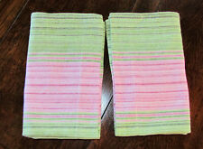 2 Pottery Barn PB Teen Standard Pillow Shams Pink Green Stripe Linen Cotton New