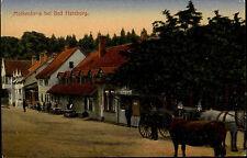 BAD HARZBURG ~1900 Pferde Kutschen Fuhrwerk Häuser Partie am Gasthaus Mokenhaus