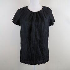 Club Monaco Womens Size Small Top Black Metallic Blouse Short Sleeve Shirt