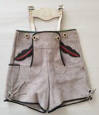 Vintage Boy's Gray Leather Lederhosen Size 56