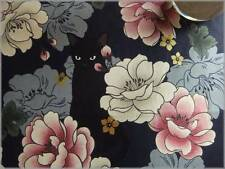 Cotton  Black Cat with Flower Patterns 110 x 50 cm 11H - Japanese Fabric