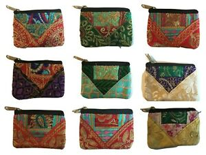 Ethnic Indian Hippy Coin Purse Embroidery Colourful Fairtrade Boho Floral Change