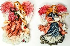 2 3� Rare Vintage Poly-Resin Angel Figurines w rear Fridge-Magnet New Nib Nos