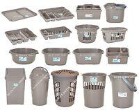 Plastic Swing Bullet Bin Laundry Basket Bowl Drainer Tray Tidy Mocha Kitchen Set