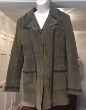 Guess Trench Coat Suede Leather Field Coat Army Green Large