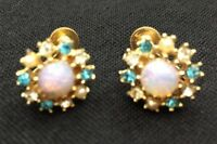 Vintage Faux Fire Opal Screwback Earrings Goldtone Crystal Stones Costume 5152F