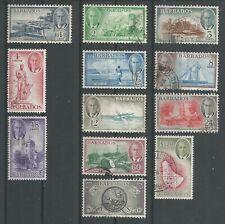 BARBADOS 1950  KGVI  F.Used   Set of 12   Wmk.MSCA   SG271-282   Cat £75