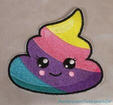 Embroidered Rainbow Unicorn Poo Poop Emoji Kawaii Cute Patch Iron On Sew On USA