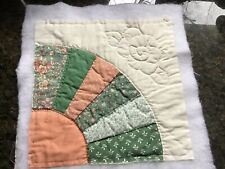 Grandmothers Fan Vintage Quilt Block, Hand Quilted, 12� Sq., Batting & Backing