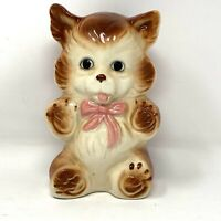 Vintage Ceramic Kitty Cat With Bow Piggy Bank Coin Collector  Made In Japan