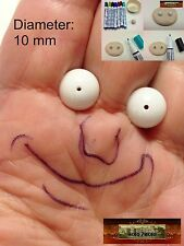 M01054 MOREZMORE 20 White 10mm Glass Bead Balls Eyeballs Eyes Doll Puppet