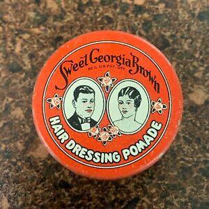 Sweet Georgia Brown Hair Dressing Pomade Vintage Tin VALMOR African American