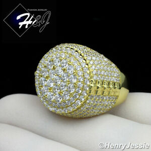 MEN 925 STERLING SILVER ICY DIAMOND BLING GOLD ROUND RING*GR66