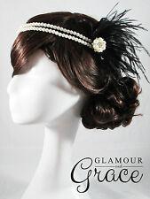 Vintage wedding Gatsby 1920s Flapper black headband feather fascinator headpiece