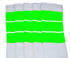 """22"""" KNEE HIGH WHITE tube socks with NEON GREEN stripes style 5 (22-150)"""
