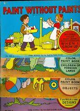 Lot of 4 Platt & Munk PAINT WITHOUT PAINT Coloring Books Vintage 1942 Carlson