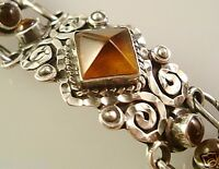 VINTAGE DESIGN TAXCO MEXICAN STERLING SILVER AMBER SCROLL BRACELET MEXICO