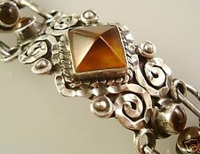 Silver Amber Scroll Bracelet Mexico Vintage Design Taxco Mexican 925 Sterling