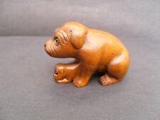 Netsuke buis sculpté main chien et chiot uk vendeur expédition rapide