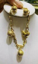18k Solid Yellow Gold Heart Chain Bracelet With Charms 6.5 Inches (5.88M)399$
