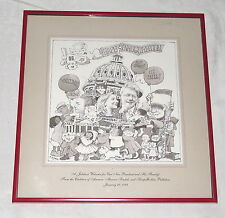 Bill Clinton Hillary Maurice Sendak Cartoon Inauguration Print Framed