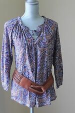 NEW LUCKY BRAND WOM L Paisley PEASANT Printed Top BLOUSE BOHO TUNIC 3/4 SL