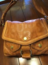 Authentic MARC JACOBS Signature Embossed Thick Brown Leather Shoulder Bag Purse
