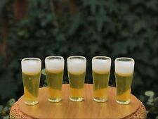 Miniature Dollhouse FAIRY GARDEN Accessories ~ Set of 5 Filled Beer Glasses