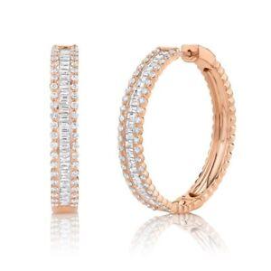 Baguette Diamante Cerchio Orecchini 14k Oro Rosa Rotondo Naturale 3.40ct F 1.45