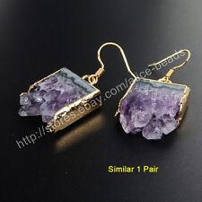 1Pair Natural Amethyst Druzy Slice Healing Crystal Gold Plated Earrings HWX014
