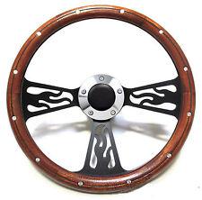 Hot Rod Mahogany & Custom Billet Steering Wheel Boss Kit for Ididit Column
