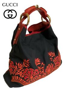 Vintage 90s 00s GUCCI Oversized Hobo Bag Purse Red Leather Floral Black Canvas
