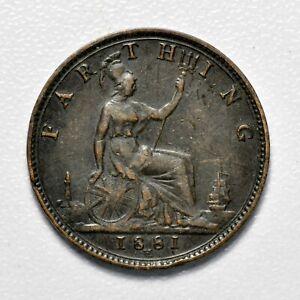 GB VICTORIA 'BUN HEAD' FARTHING 1881H ++ HIGH GRADE!! ++ [826-16]