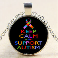 Cabochon Glass Silver Charm Pendant Necklace,keep calm support Autism